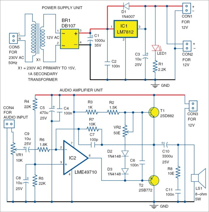 pic2 lme49710 based audio amplifier detailed project available