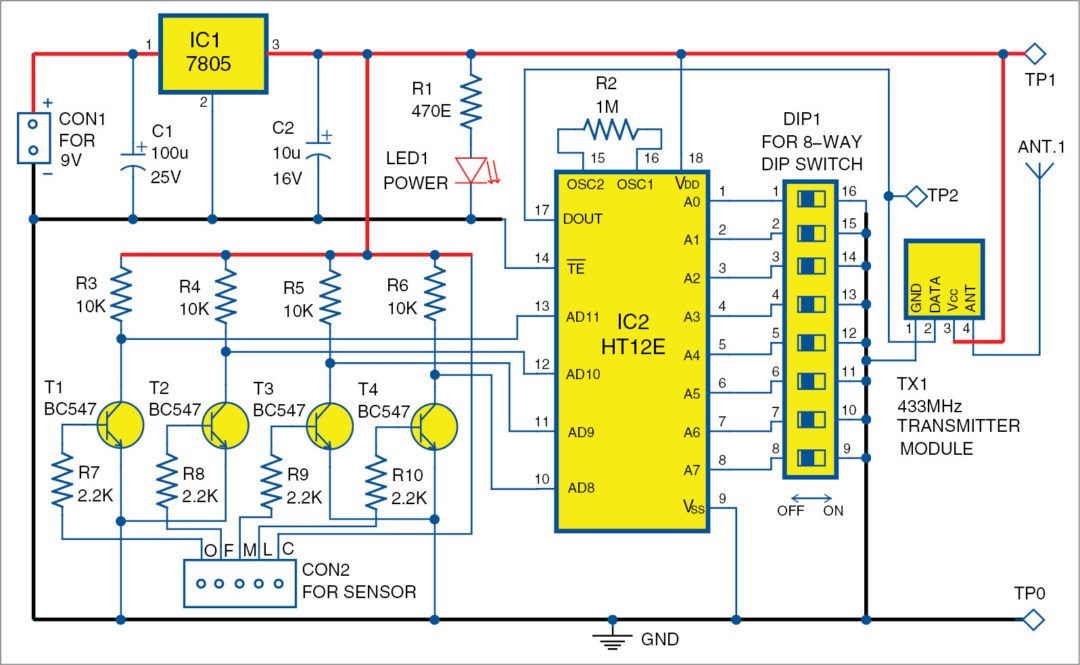 wireless water level indicator circuit: transmitter unit