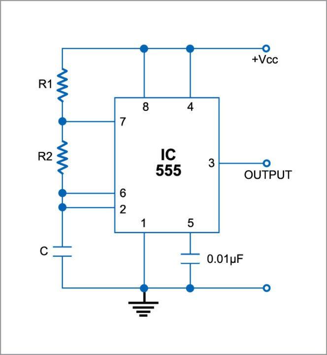 Astable multivibrator using 555 IC