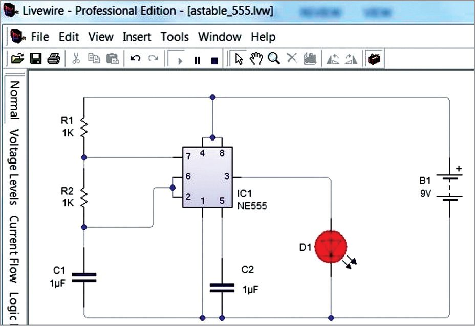 Simulation of the circuit in LiveWire