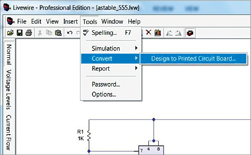 Fig. 6: PCB converting option in Livewire