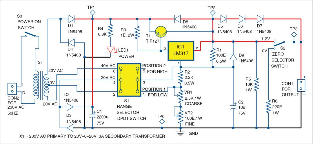 Designing 0-50V Variable Power Supply Using LM317 IC