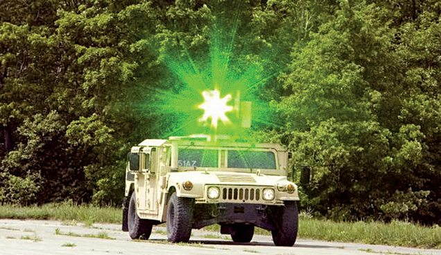 Vehicle-mounted laser dazzler for crowd-control application