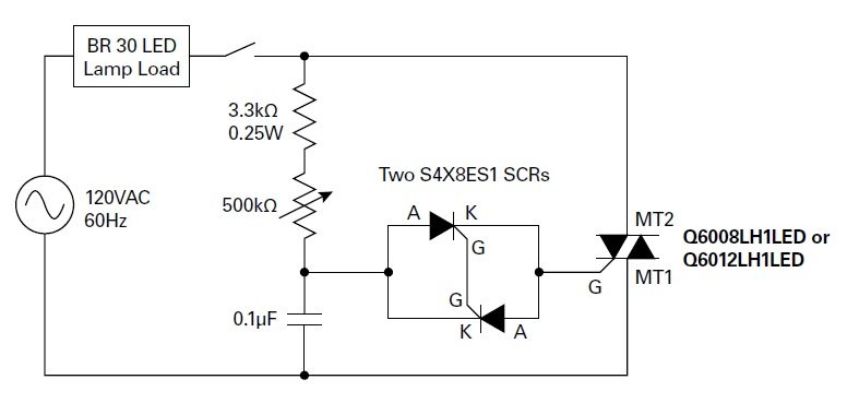 Figure 1. Dimmer circuit for a recessed flood lamp, using two inverse parallel sensitive gate silicon-controlled rectifiers (SCRs)