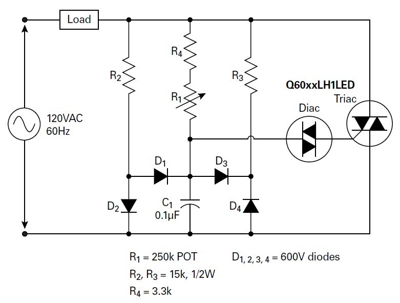 Figure 2. Dimmer circuit designed for better hysteresis.