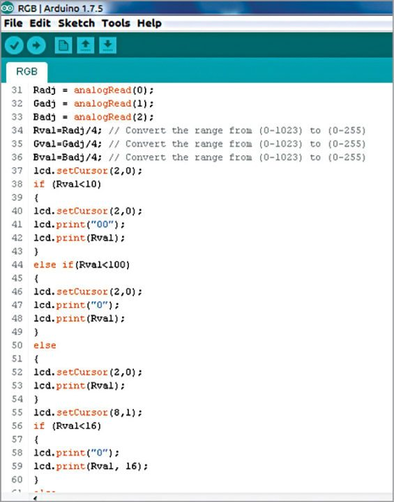 source code screenshot for RGB colour code generator