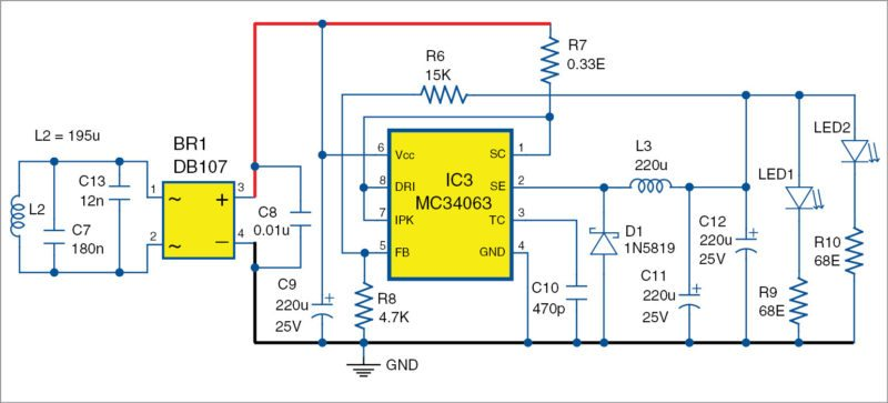 wireless led receiver unit circuit diagram