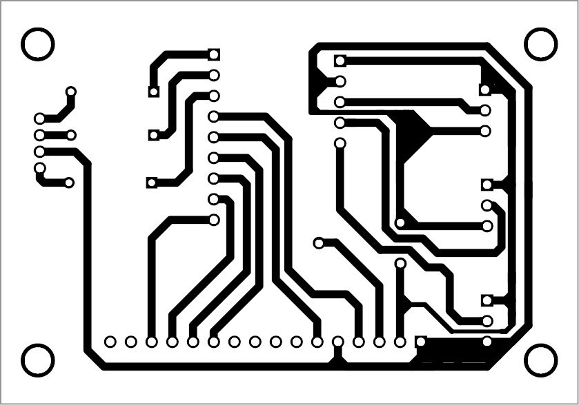 PCB pattern of the RGB colour code generator