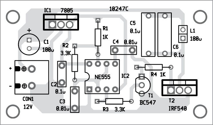 wireless led transmitter unit component layout