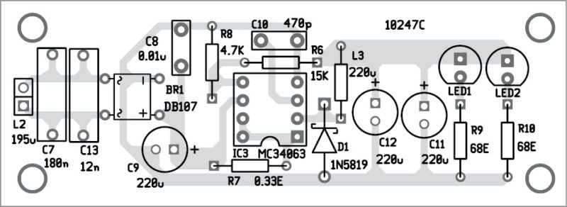 wireless led receiver unit component layout