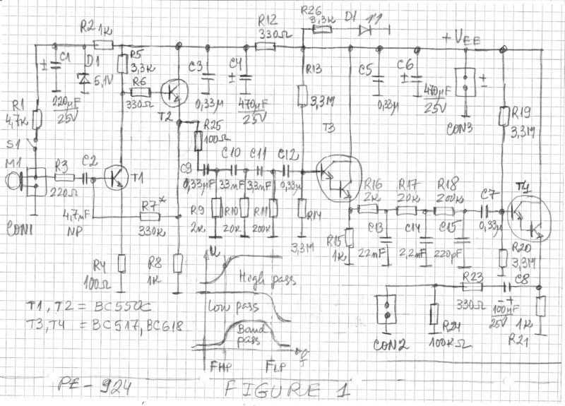 Transistorized Microphone Preamplifier With Band Pass Filter