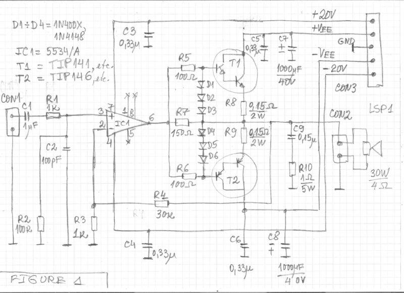 Simple 30W Audio Power Amplifier And Darlington Transistors