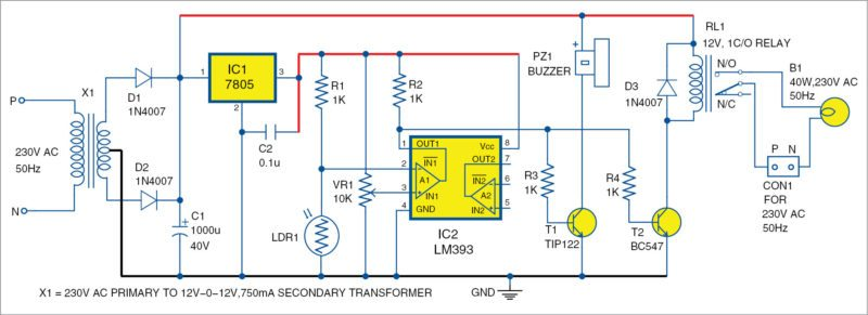 electronic eye security system using lm393 | electronics project, Circuit diagram