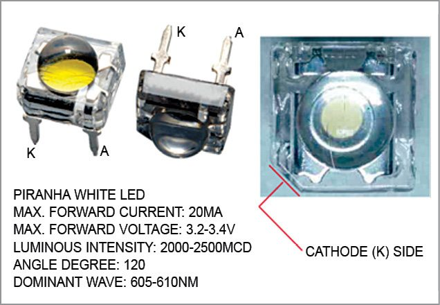 Pin details of the piranha white LED