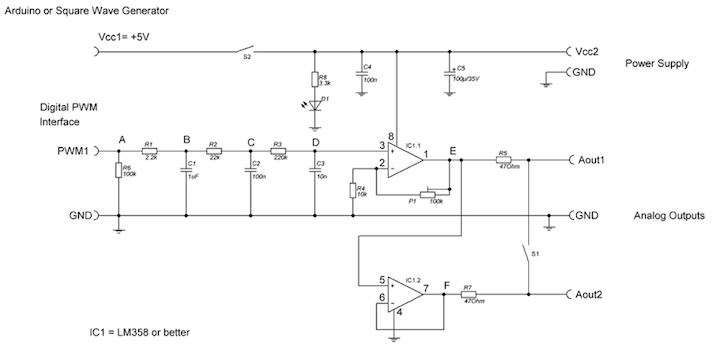 Circuit diagram of the low-cost PWM module with two outputs.