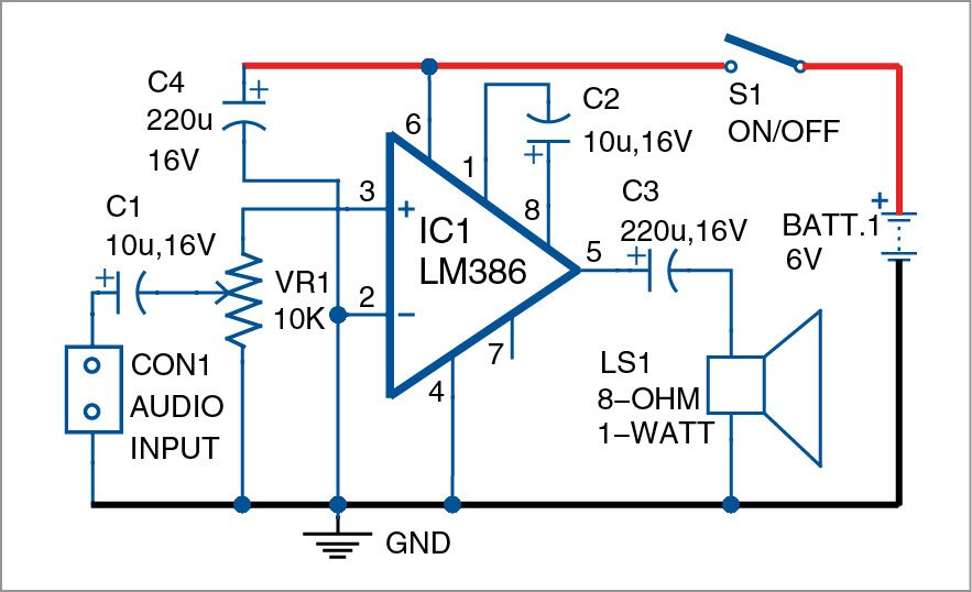 lm386 based audio amplifier full project with circuit available rh electronicsforu com stereo amplifier circuit diagram stereo amplifier circuit diagram pdf