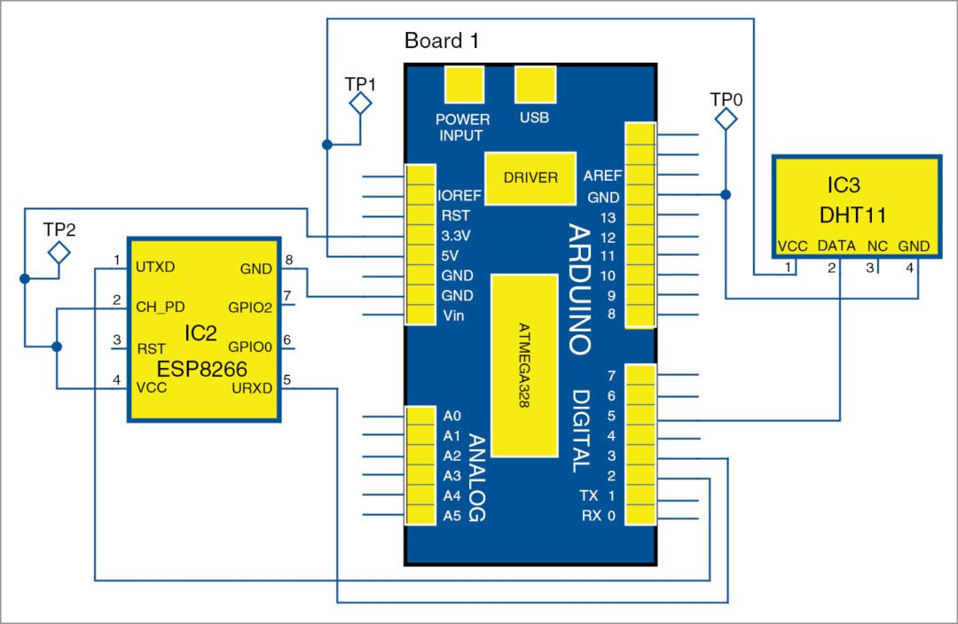 Circuit diagram humidity and temperature monitoring using Arduino with ESP8266