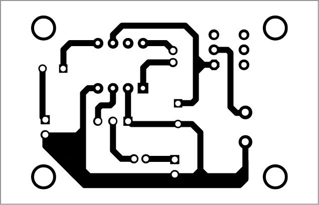 PCB pattern of the LM386 based Audio Amplifier