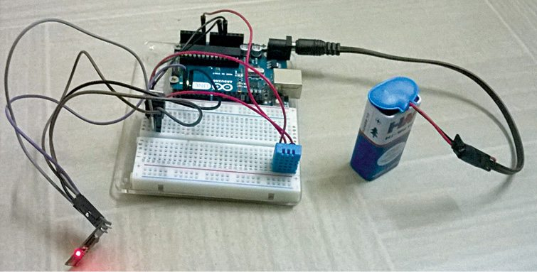Author's prototype of the humidity and temperature monitoring using Arduino with ESP8266