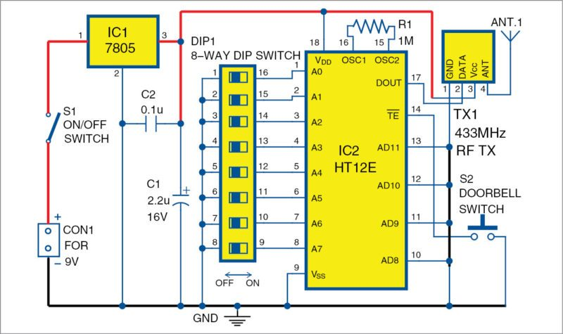 Wireless Doorbell For Your Home And Office Electronics Diy Project. Circuit Diagram Of Transmitter Unit For The Wireless Doorbell. Wiring. Electronic Wiring Diagram For Doorbell At Scoala.co