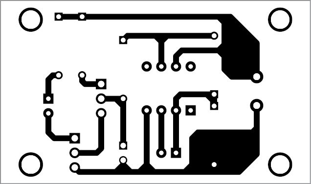 Actual-size PCB layout of the LED as a light sensor circuit