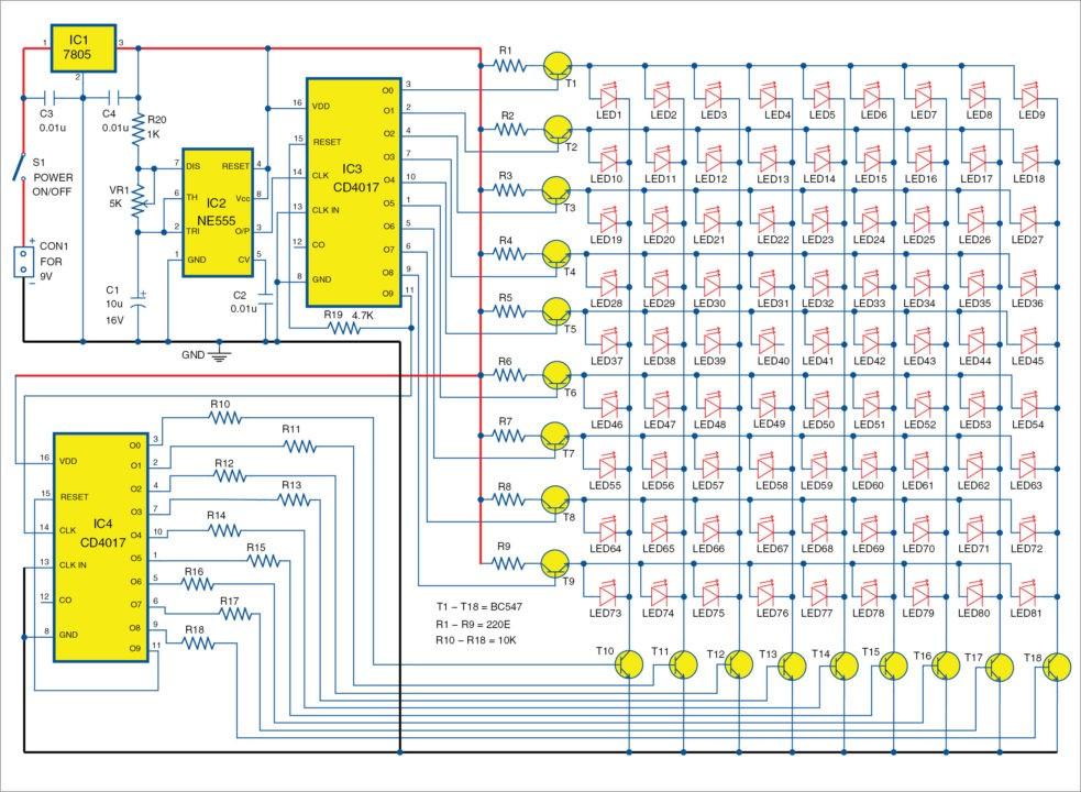 cd4017 based led light 81 led chaser light full project rh electronicsforu com led lamp circuit diagram 230v led lamp circuit diagram 12v