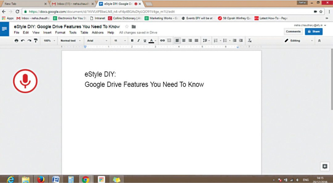 Voice Typing in Google Docs