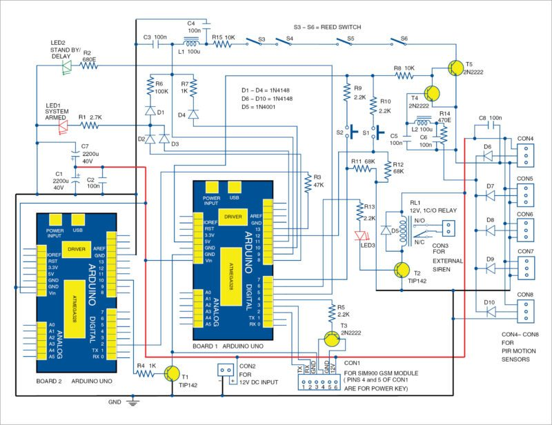 1: circuit diagram of the arduino based gsm home automation system