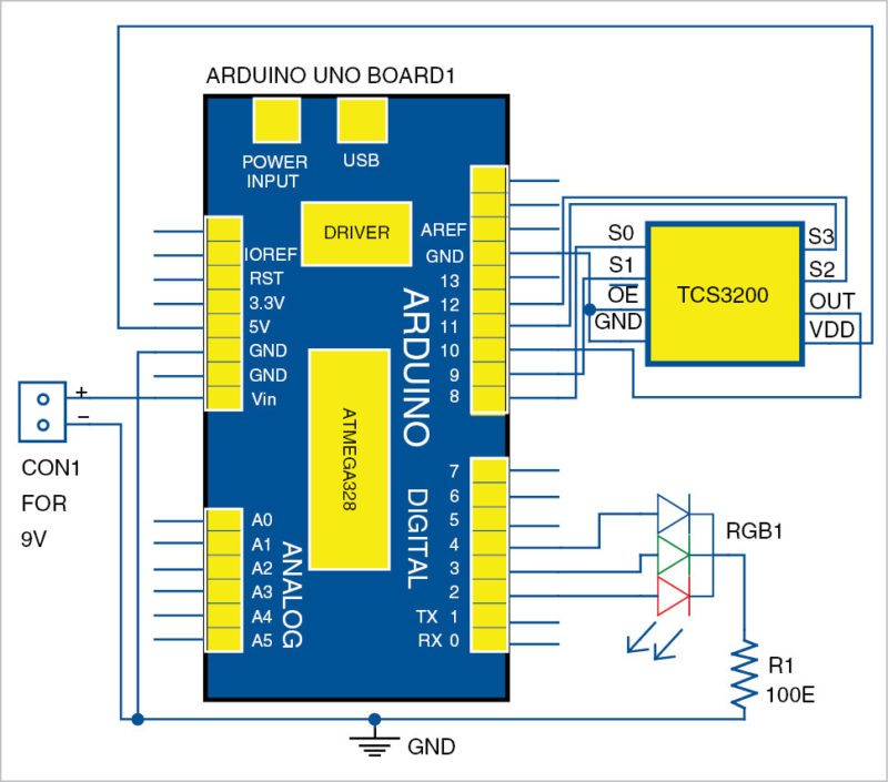 Circuit diagram of the RGB color detector using TCS3200