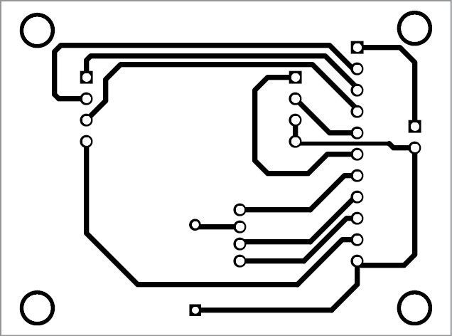 Actual-size PCB layout of the RGB color detector using TCS3200