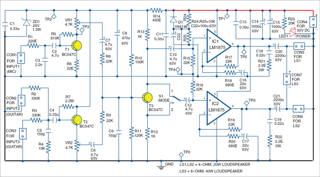 Simple Two Channel Amplifier For Microphone And Guitars