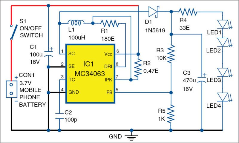 Circuit diagram of the mini candle light