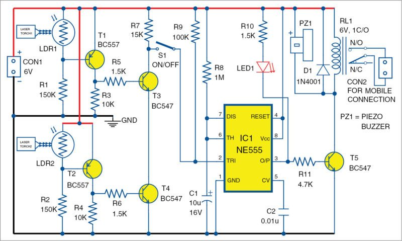 Laser Security System Circuit Diagram | Dual Laser Security System Using An Old Feature Phone