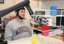 Research subjects at University of Minnesota fitted with a specialised non-invasive brain cap were able to move the robotic arm just by imagining moving their own arms (Image courtesy: University of Minnesota)