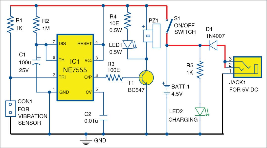 Circuit diagram of the vibration sensor