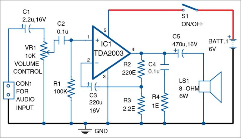 Circuit diagram of 3W to 6W audio amplifier using TDA2003