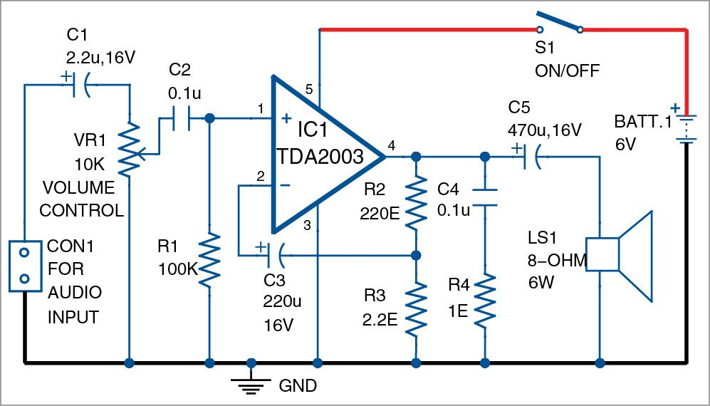 3w 6w audio amplifier using tda2003 detailed circuit available rh electronicsforu com