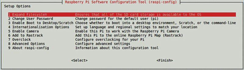 Raspi-config configuration window
