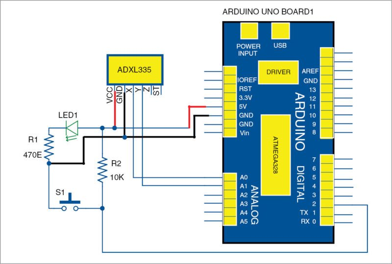 Circuit diagram of the duck hunt game using Arduino Uno