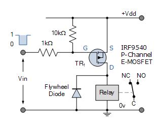 p-channel mosfet relay switch circuit