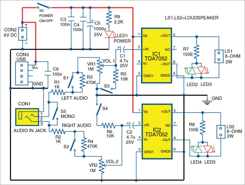 Circuit diagram of the stereo amplifier for portable devices