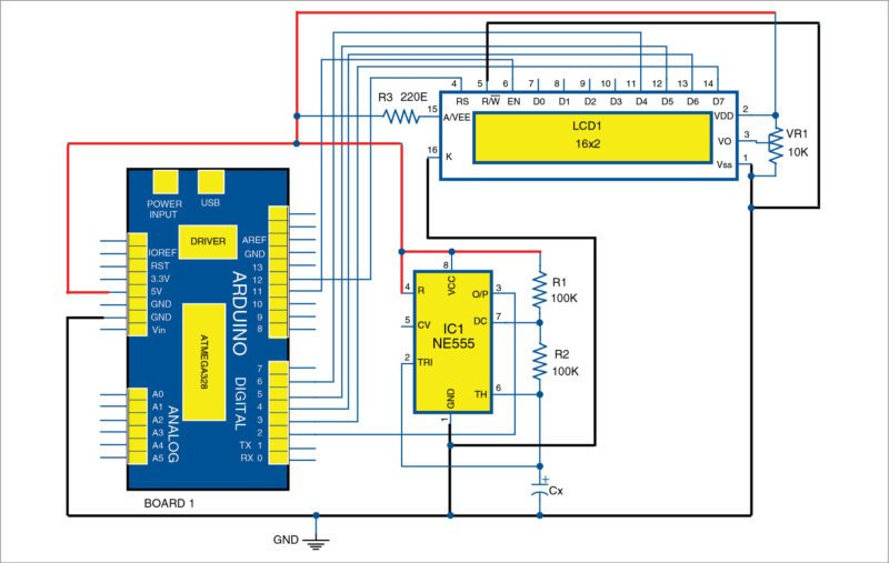 Circuit diagram of Arduino based digital capacitance meter with NE555 timer in astable mode