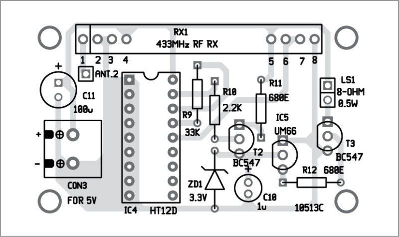 Component layout of the alarm unit PCB