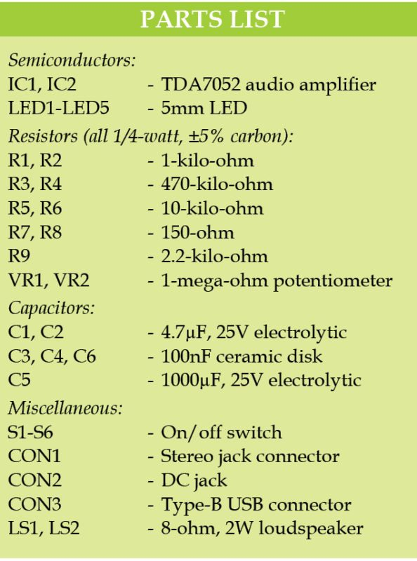 Part list for Stereo Amplifier Using TDA7052 ICs For Portable Devices