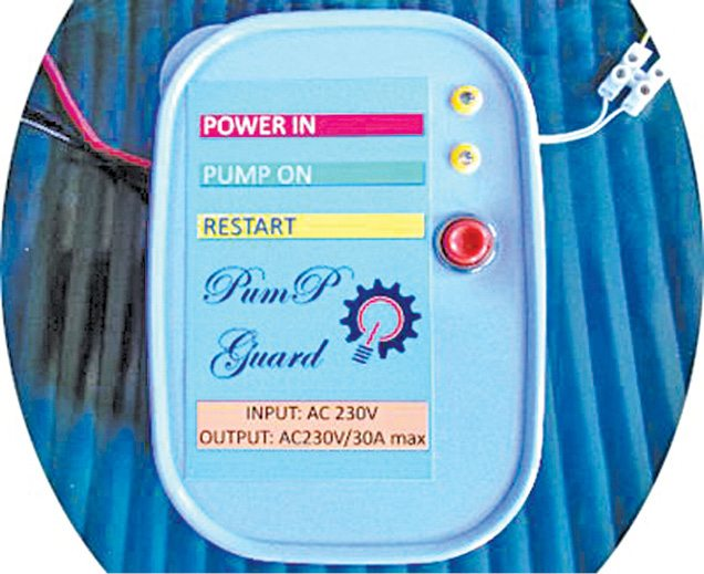 Front panel of the water pump dry run guard prototype