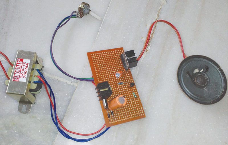 Author's prototype of 3W audio amplifier using TDA7056