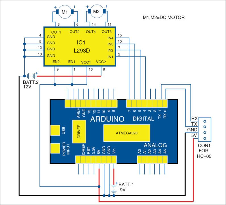 Circuit diagram of Arduino-based smartphone-controlled car