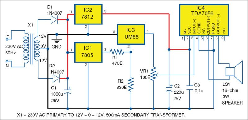 Circuit of 3W audio amplifier using TDA7056