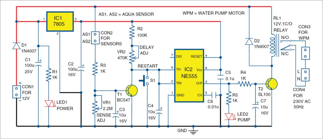 Circuit diagram of the water pump dry run guard