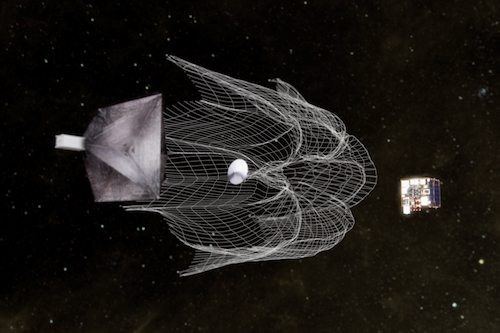 A giant net is fired at a SSC CubeSat acting as artificial space junk in the RemoveDebris project.